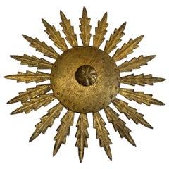 Gold Gilt Metal Leaf Design Starburst Chandelier, Spain, Midcentury