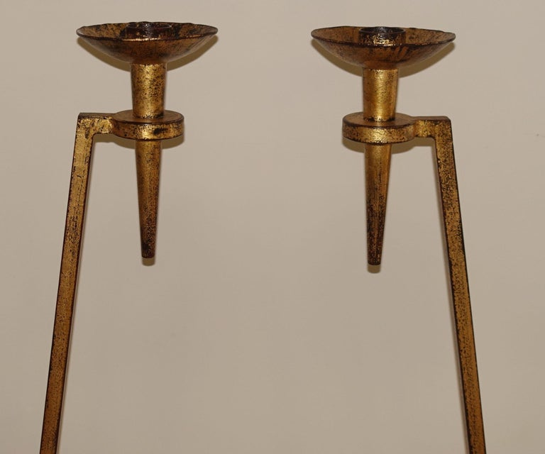 French Gold Gilt Pair Standing Torchères, France, 1940s For Sale