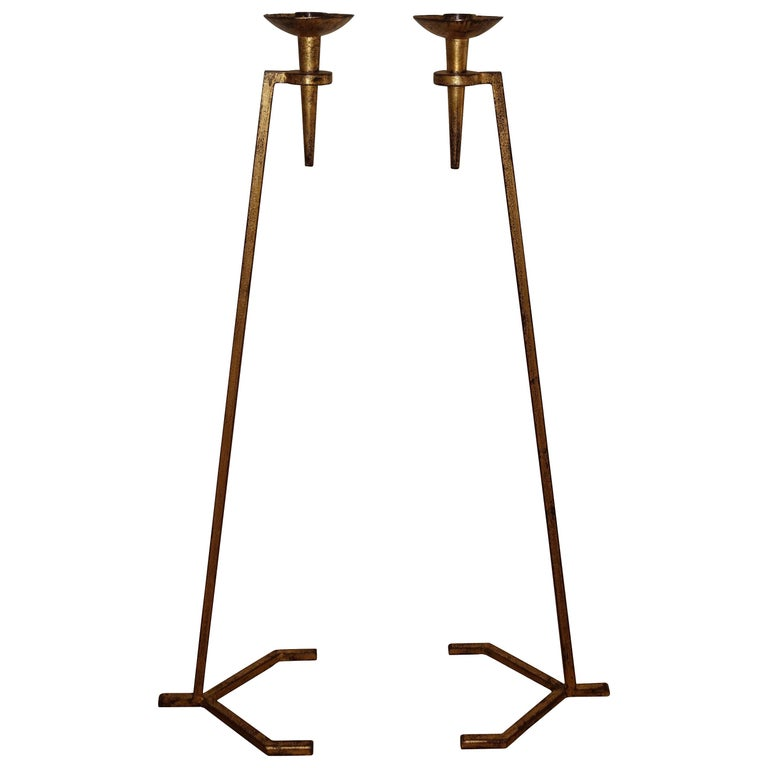 Gold Gilt Pair Standing Torchères, France, 1940s For Sale