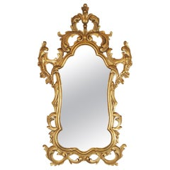 Gold Gilt Rococo Style Carved Wood Mirror, Made in Spain