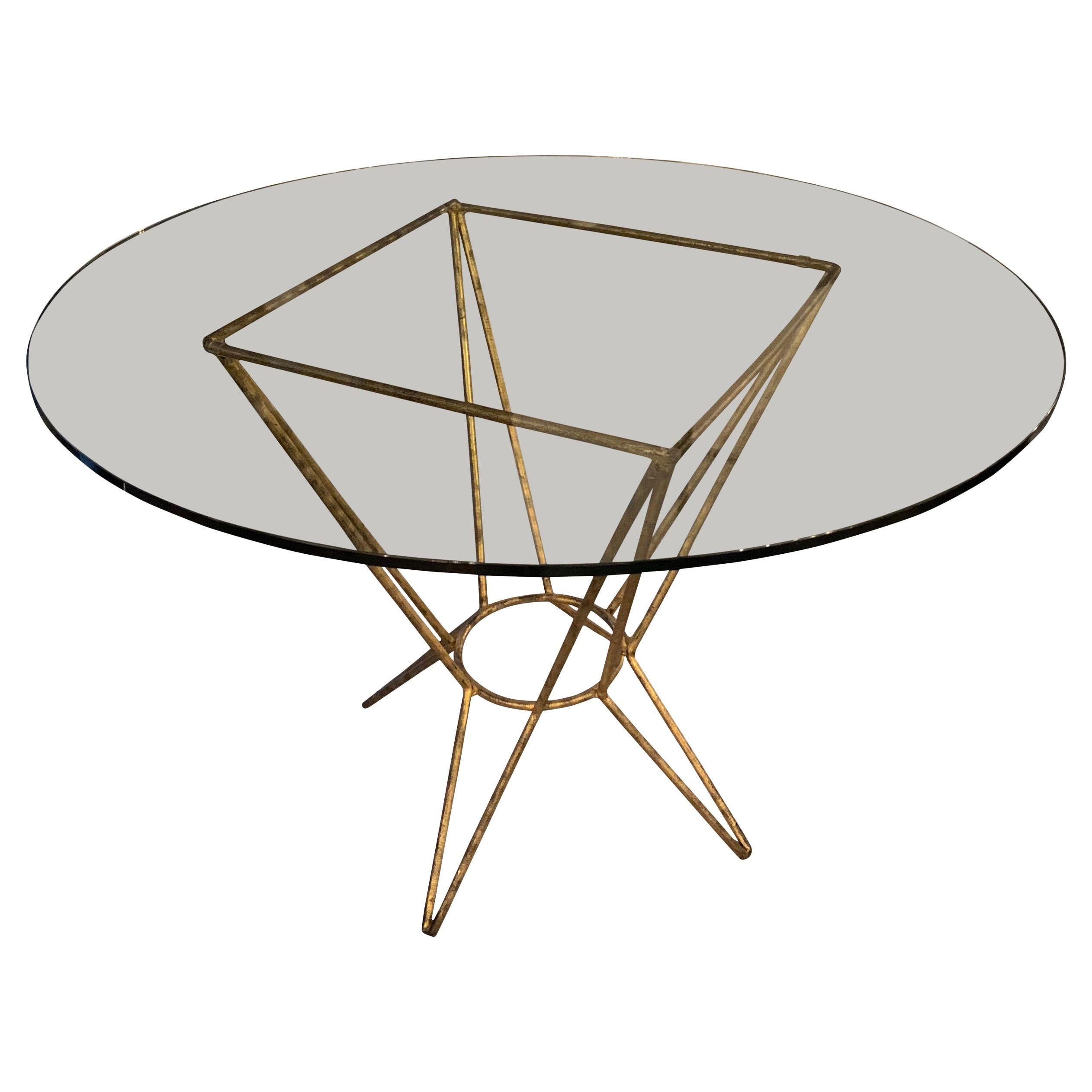 Gold Gilt Base Round Glass Top Side Table, France, Midcentury