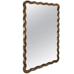 Gold Gilt Serpentine Frame Mirror, France, 19th Century