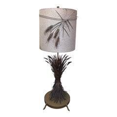 Gold Gilt Sheaf of Wheat Italian Floor Lamp with Original Shade
