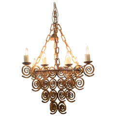 Gold Gilt Wrought Iron Eight-Arm Chandelier, Spain, 1950s