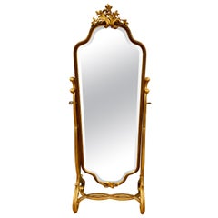 Gold Giltwood and Mahogany Cheval Floor Mirror