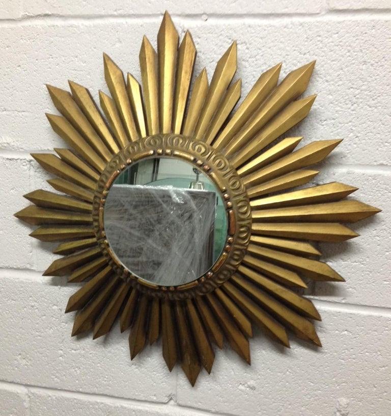 Mid-Century Modern Gold Giltwood Framed Sunburst Mirror For Sale
