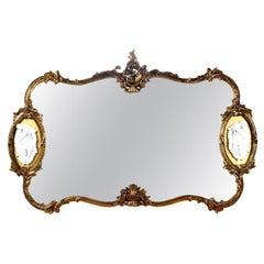 Gold Giltwood Hollywood Regency Faux Ebony Baroque Mirror