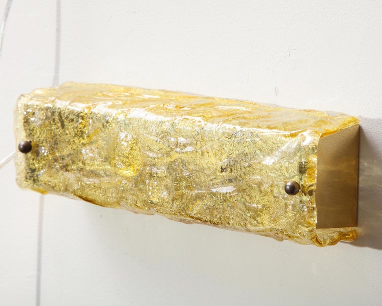 German Gold Glass Wall Light For Sale