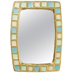 Gold Glazed Ceramic Mirror by Francois Lembo, 1960s