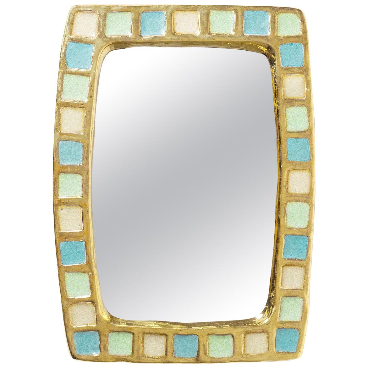 Gold Glazed Ceramic Mirror by Mithé Espelt, 1960s