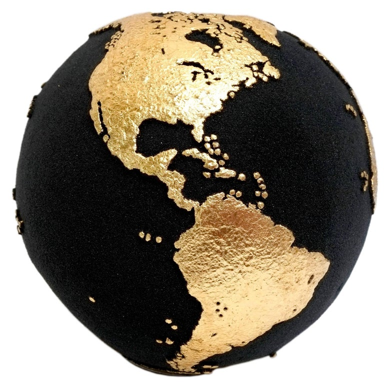 Gold Globe Made of Teak Root with Volcanic Sand and Gold Finishing, 20 cm