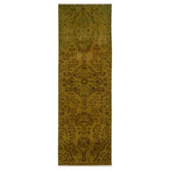 Gold Green Overdyed and Vintage Worn Down Persian Bibikabad Runner Hand Knotted