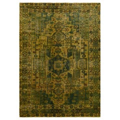 Gold Green Overdyed Vintage Persian Lilihan Clean Worn Down Hand Knotted Pure