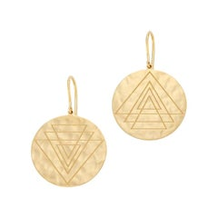 Gold Hammered Disc Earrings with Engravings from ARK Fine Jewlelry