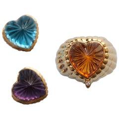 Gold Hear Shaped Ring Amethyst, Citrine or Blue Topaz