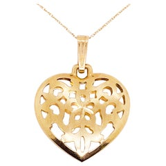 Gold Heart Necklace, Vintage Heart 14 Karat Gold, Vintage Puff Heart, Love