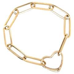 Gold Heart Paperclip Bracelet
