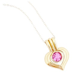 Gold Heart Pendant Necklace With Pink Crystal By Nolan Miller, 1980s