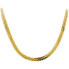 Gold Herringbone Chain in 14 Karat Yellow Gold, Flat Link Wide Chain