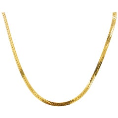 Gold Herringbone Chain in 14 Karat Yellow Gold, Flat Wide Chain