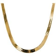 Gold Herringbone Chain in Yellow Gold, Flat Link Wide Chain