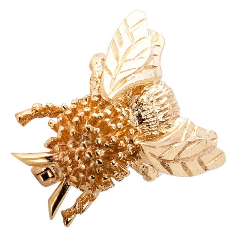 Contemporary Gold Honeybee Brooch For Sale