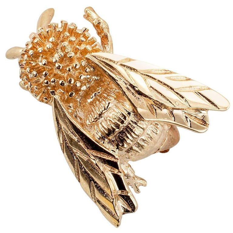 Gold Honeybee Brooch For Sale