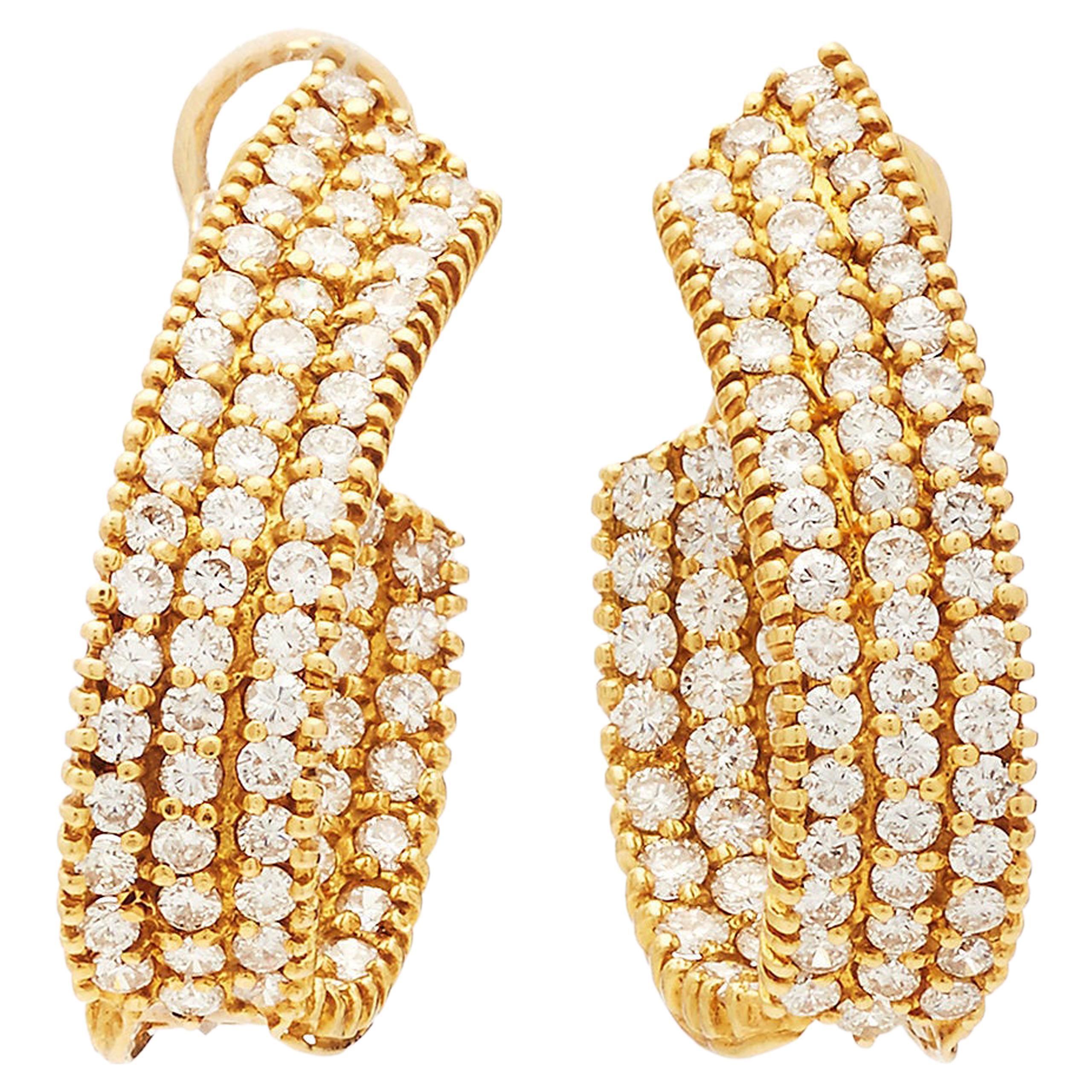 Gold Hoop Diamond Earrings