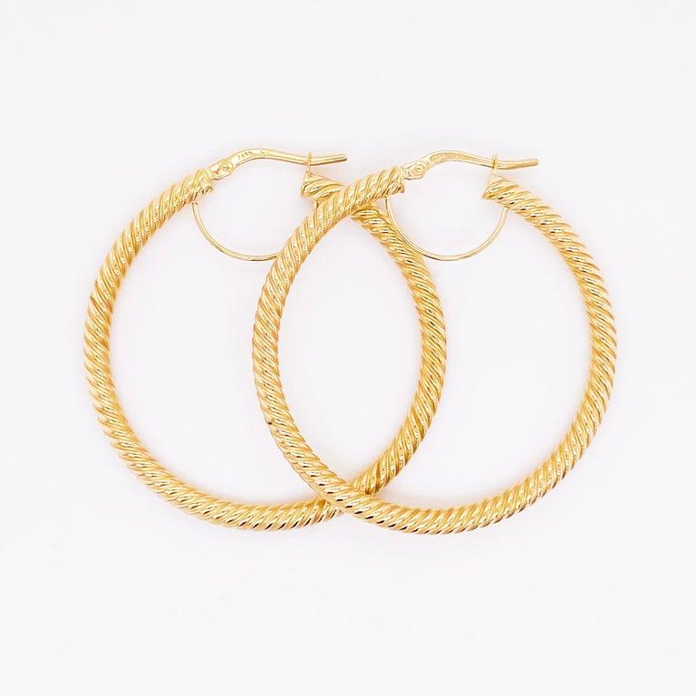 Gold Hoop Earrings, 14 Karat Twisted Hoops, 14 Karat Yellow Gold, Medium Hoops In New Condition For Sale In Austin, TX