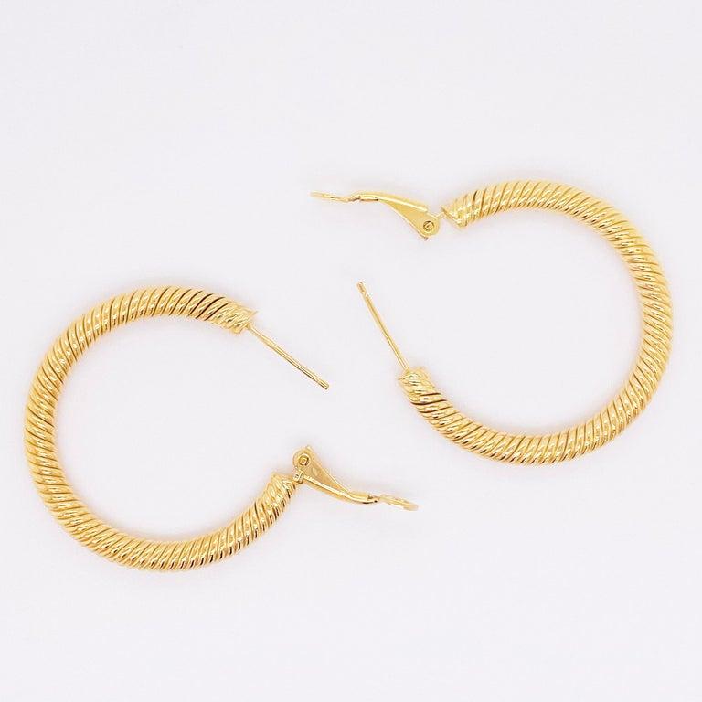 Women's Gold Hoop Earrings, 14 Karat Twisted Hoops, 14 Karat Yellow Gold, Medium Hoops For Sale