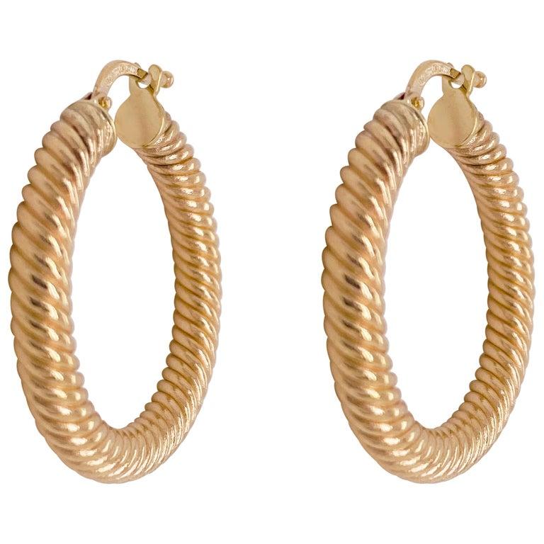 Gold Hoop Earrings, 14 Karat Twisted Hoops, 14 Karat Yellow Gold, Medium Hoops For Sale