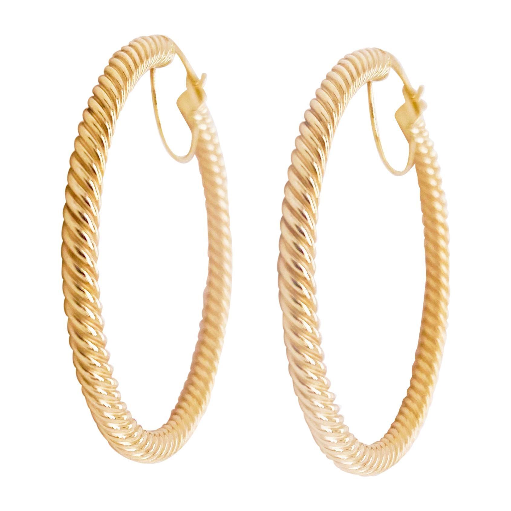 Gold Hoop Earrings, 14 Karat Twisted Hoops, 14 Karat Yellow Gold, Medium Hoops