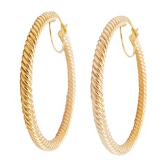 Gold Hoop Earrings, 14 Karat Twisted Hoops, 14 Karat Yellow Gold, Medium Hoops