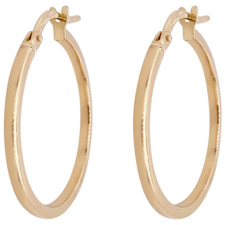 Gold Hoop Earrings, 14 Karat Yellow Gold, 14 Karat, Medium Hoops For Sale