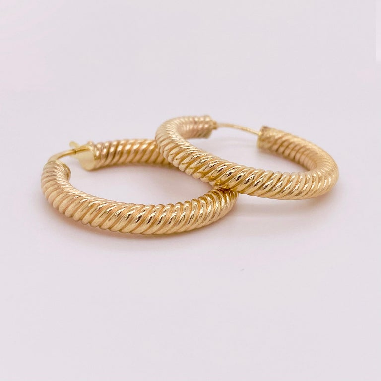Modern Gold Hoop Earrings, 14 Karat Twisted Hoops, 14 Karat Yellow Gold, Medium Hoops For Sale