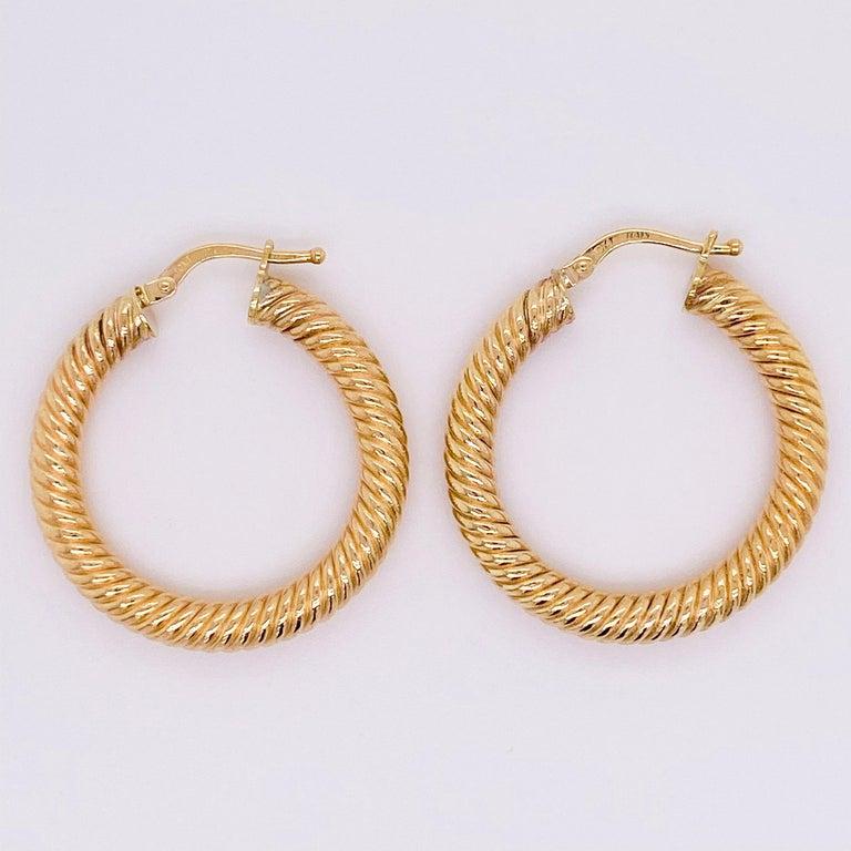 Gold Hoop Earrings, 14 Karat Twisted Hoops, 14 Karat Yellow Gold, Medium Hoops For Sale 1