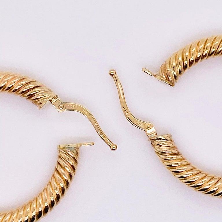 Gold Hoop Earrings, 14 Karat Twisted Hoops, 14 Karat Yellow Gold, Medium Hoops For Sale 2
