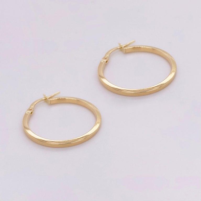 Women's Gold Hoop Earrings, 14 Karat Yellow Gold, 14 Karat, Medium Hoops For Sale