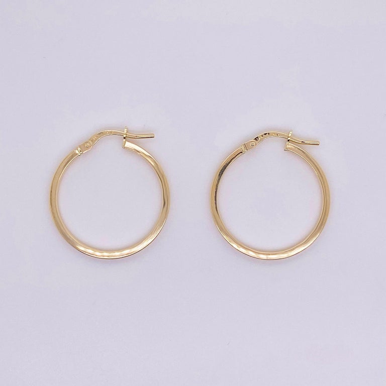 Gold Hoop Earrings, 14 Karat Yellow Gold, 14 Karat, Medium Hoops For Sale 1