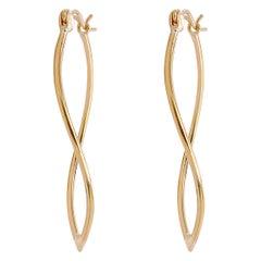 Gold Hoop Earrings w a Twist in Yellow Gold, Dangle Earrings Organic Shape