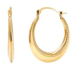 Fourteen Karat Yellow Gold Hoop Earrings Granulation Design Measuring 0.50 Inch