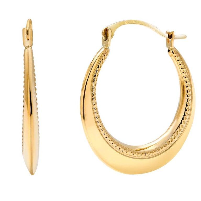 Fourteen Karat Yellow Gold Hoop Earrings Granulation Design