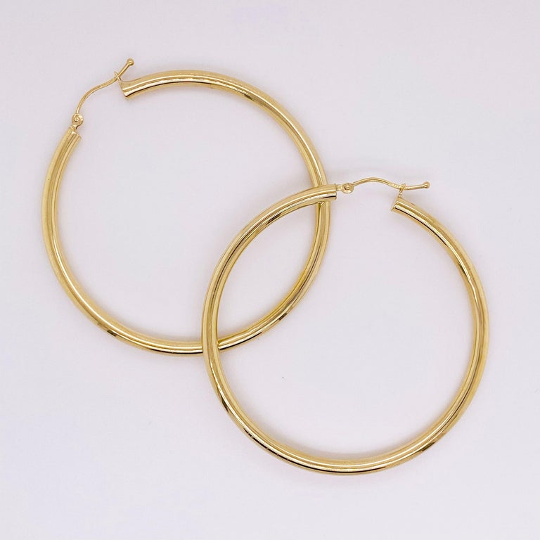 Modern Gold Hoop Earrings, Yellow Gold 14 Karat, 14 Karat, Large Hoops For Sale