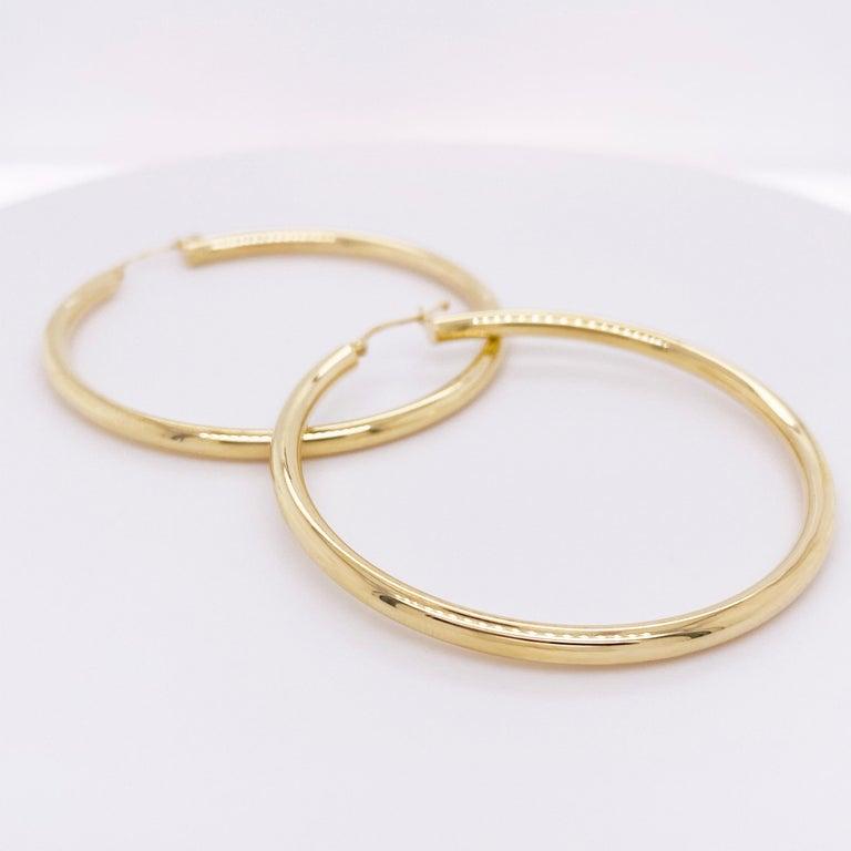 Gold Hoop Earrings, Yellow Gold 14 Karat, 14 Karat, Large Hoops In New Condition For Sale In Austin, TX