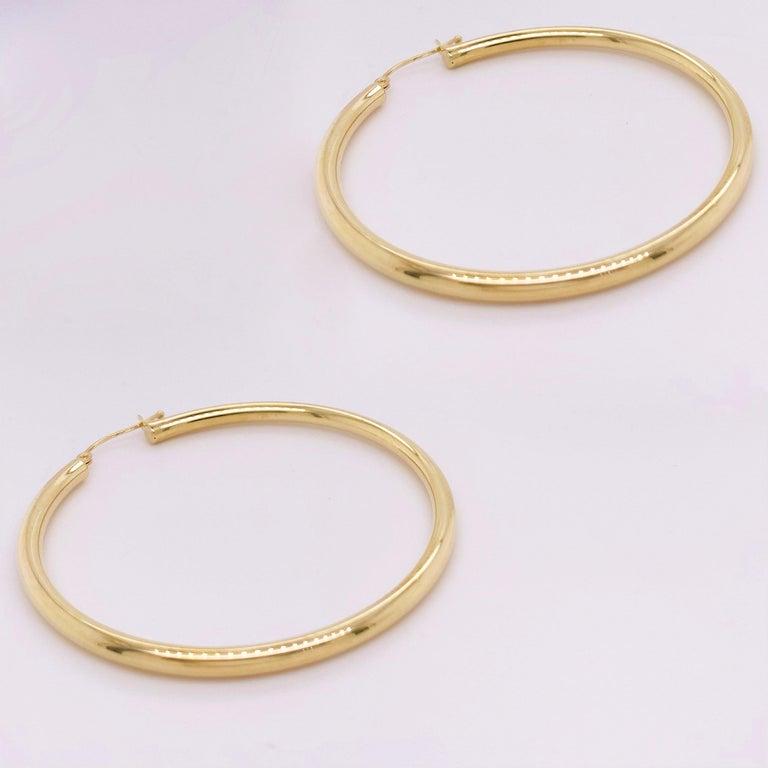 Women's Gold Hoop Earrings, Yellow Gold 14 Karat, 14 Karat, Large Hoops For Sale