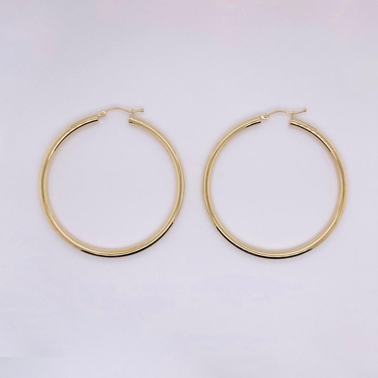 Gold Hoop Earrings, Yellow Gold 14 Karat, 14 Karat, Large Hoops For Sale 1