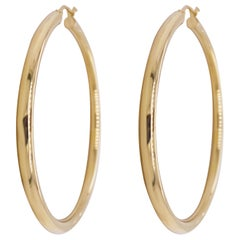 Gold Hoop Earrings, Yellow Gold 14 Karat, 14 Karat, Large Hoops