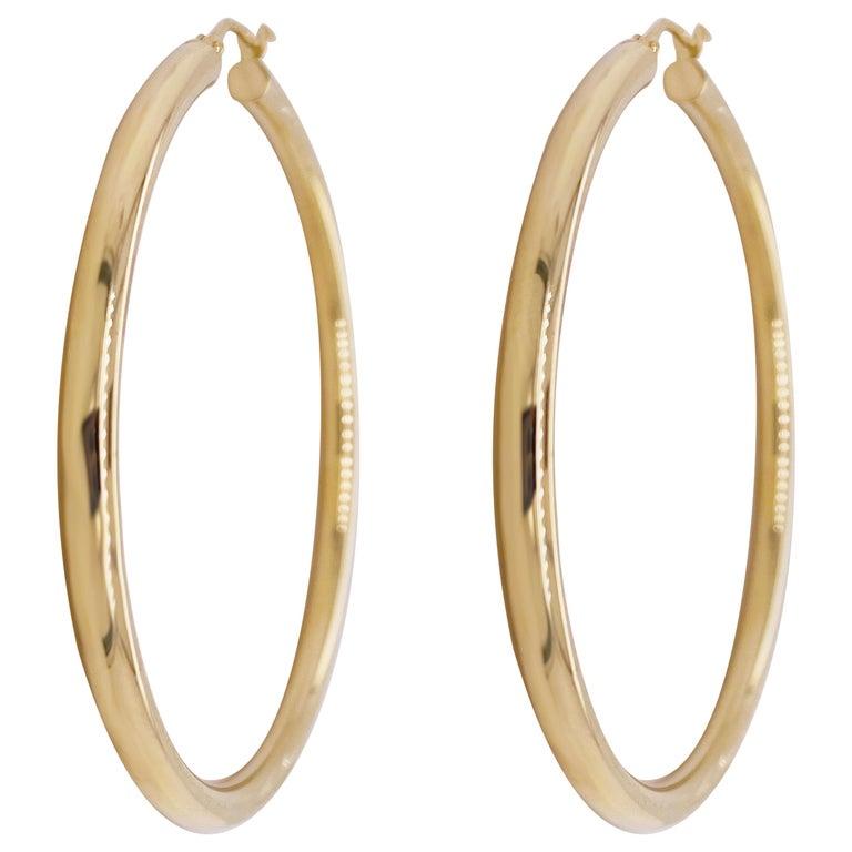 Gold Hoop Earrings, Yellow Gold 14 Karat, 14 Karat, Large Hoops For Sale