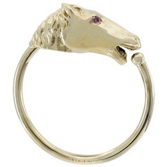 Gold Horse Head Key Ring
