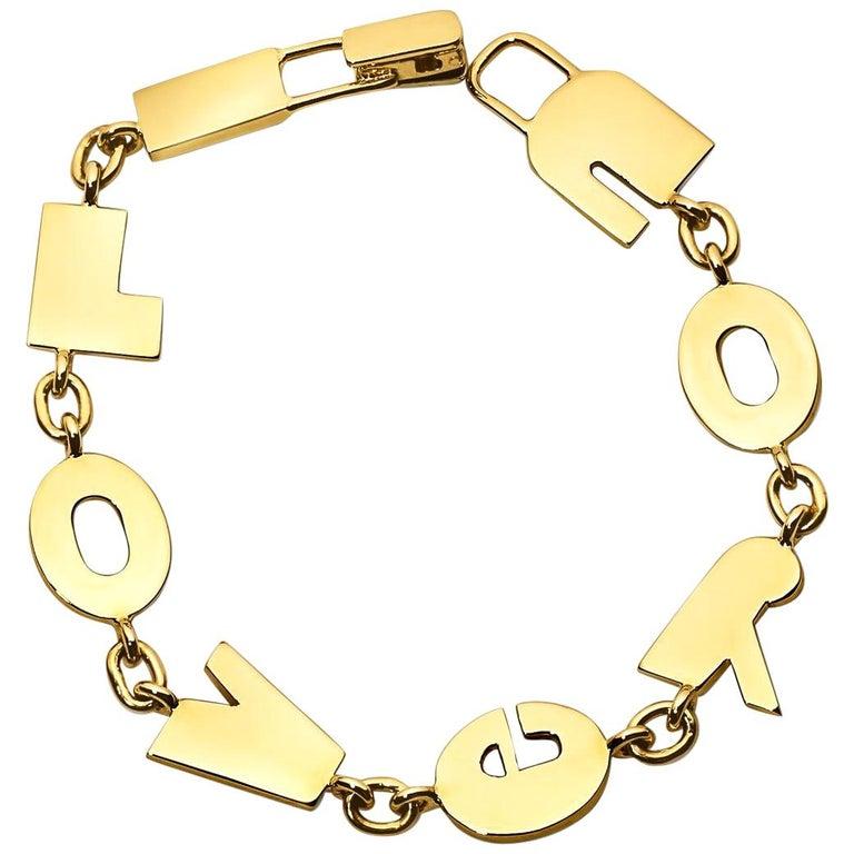 Gold I Love You Bracelet For Sale
